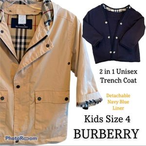 Kids Burberry Lined Trench Coat